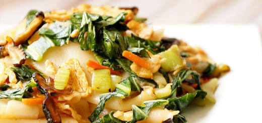 Vegetarian Rice Noodles with Carrots, Bok Choy and Shiitake Mushrooms