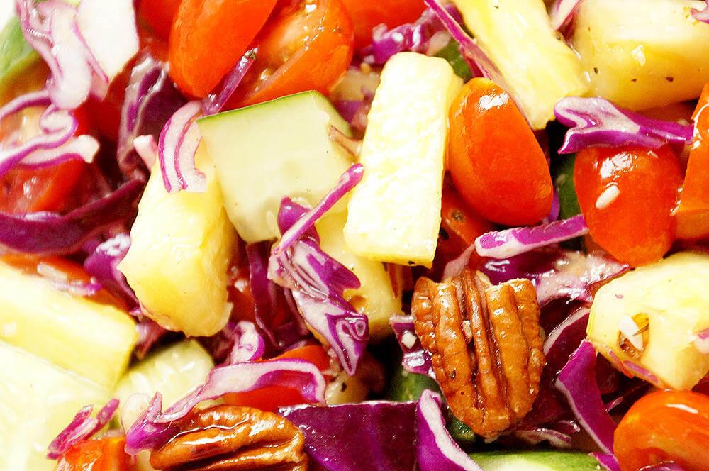 - Detox Pineapple, Purple Cabbage, Cucumber and Tomato Salad
