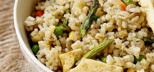 Lentils, Quinoa & Brown Rice with Roasted Asparagus, Tofu and Veggies