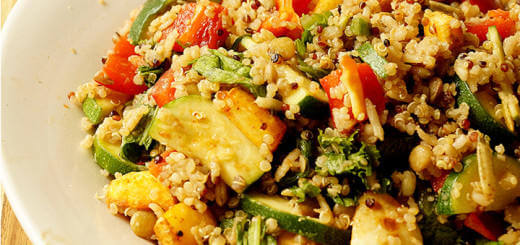 Quinoa, Lentil Rice Salad with Rainbow Veggies and Roasted Parsnips