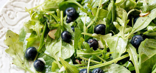 Sweet Leafy Green Salad with Blueberries and Almonds